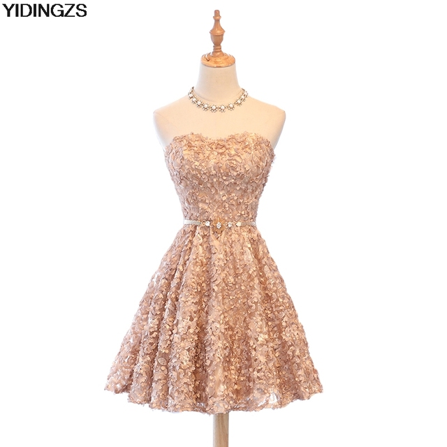 YIDINGZS Sweet Prom Dresses Khaki Lace Flowers Party Dresses With ...