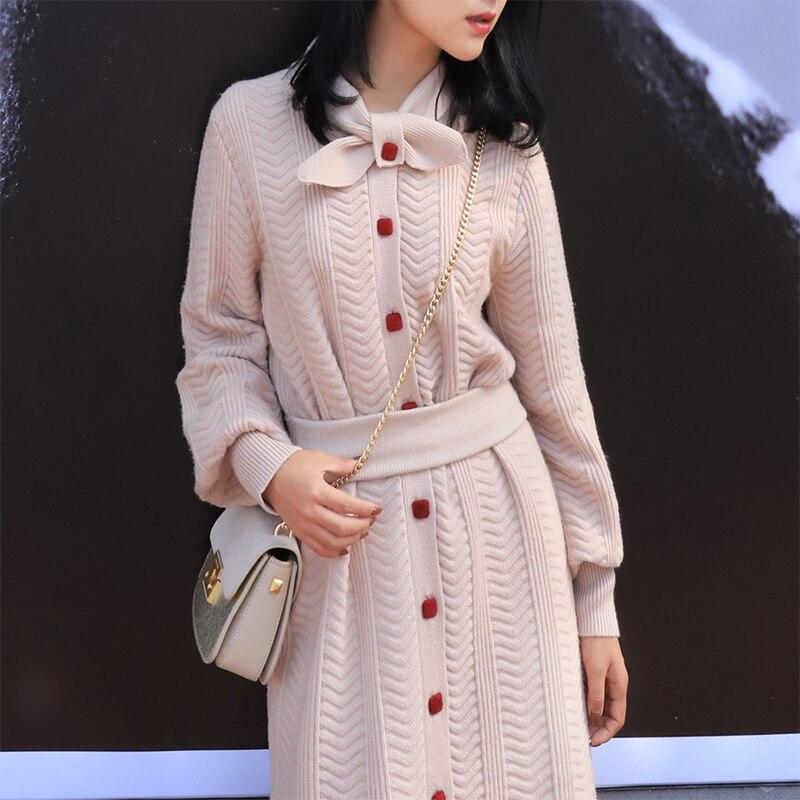 Printemps 2019 Coréenne Style Femmes Arc Col Unique Poitrine Manches Longues Pull-Robe Élégante Dames de Bureau Tricoté Robe