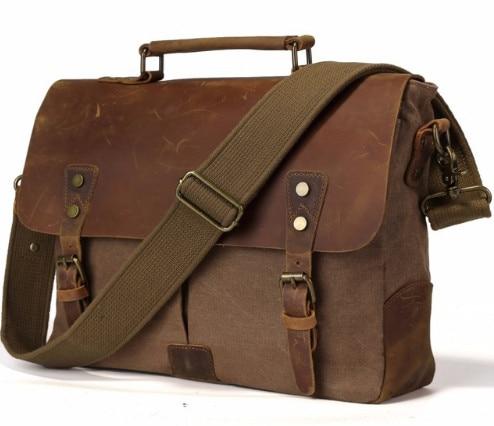 Homme messenger sac à bandoulière pour hommes mallette portable en toile pour hommes avec cuir facteur sac à main Messenger sac pour Ordinateur Portable sacs pour hommes