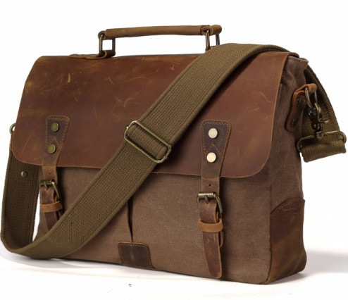 Vintage casual men's portable briefcase canvas postman bag Messenger bag with crazy horse leather 14 Inch Laptop Bag Cross Body