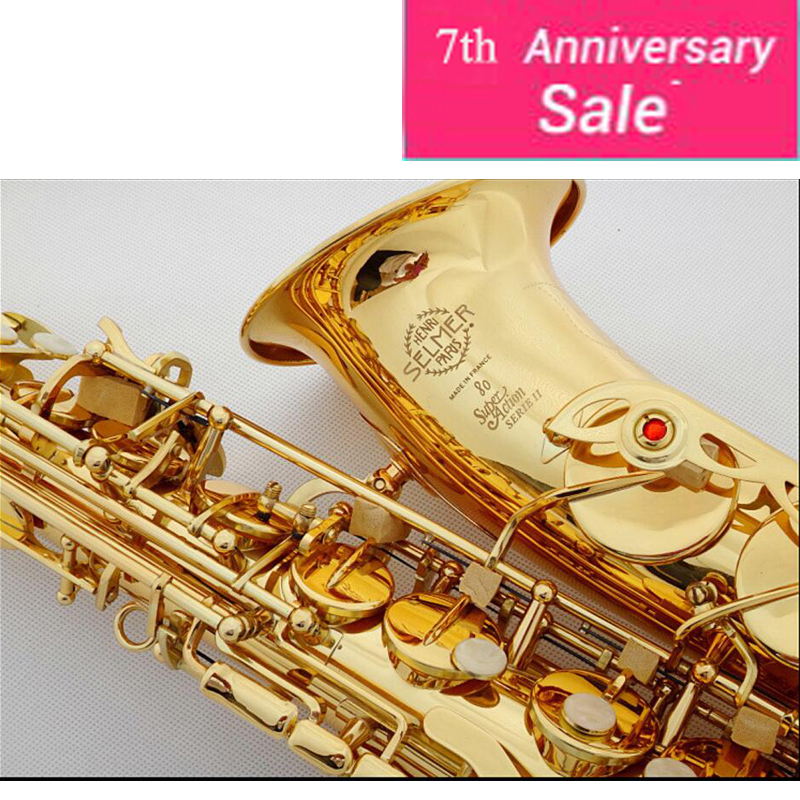 DHL,Fedex Free Selmer 802 Gold Plated Alto Saxophone Brand France Henri sax E Flat musical instruments professional E flat sax