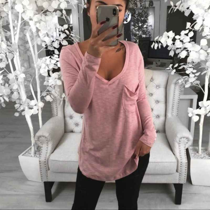 LITTHING 2019 New Women Basic Cotton T-Shirts Spring Long Sleeve V-Neck Casual Long Tops Tee Girl Sexy T-Shirt Plus Size T Shirt