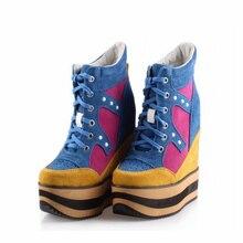 Plataforma Mulheres Sapatos de Couro Genuíno Mulher Sapatos De Salto Alto Rebite Cores Misturadas Sapatos Casuais Zapatillas Zapatos Mujer Tenis Feminino