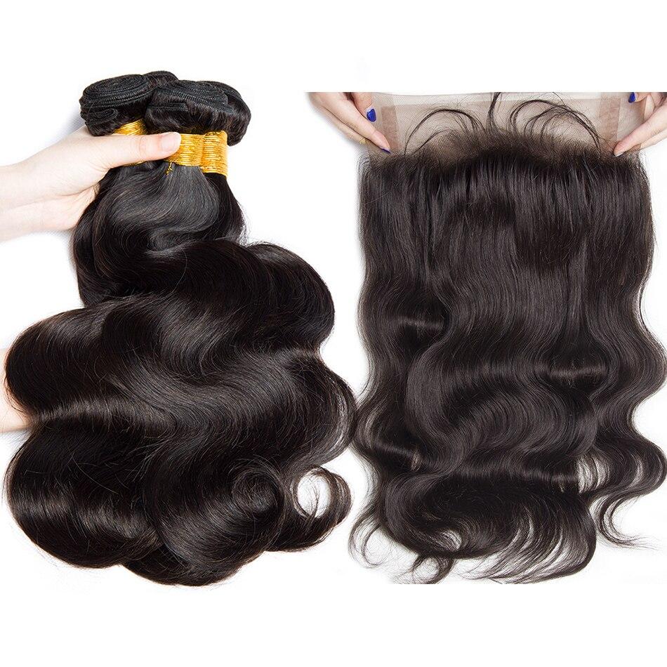 Alibele Peruvian Body Wave Human Hair 3 4 Bundles With Frontal Peruvian Remy Hair Bundles With