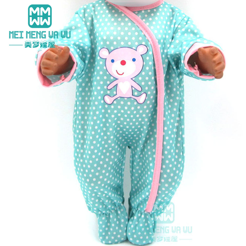 Doll Clothes For 43cm New Born Doll Accessories Cartoon Siamese Crawling Baby Clothes + Hat To Help Digest Greasy Food