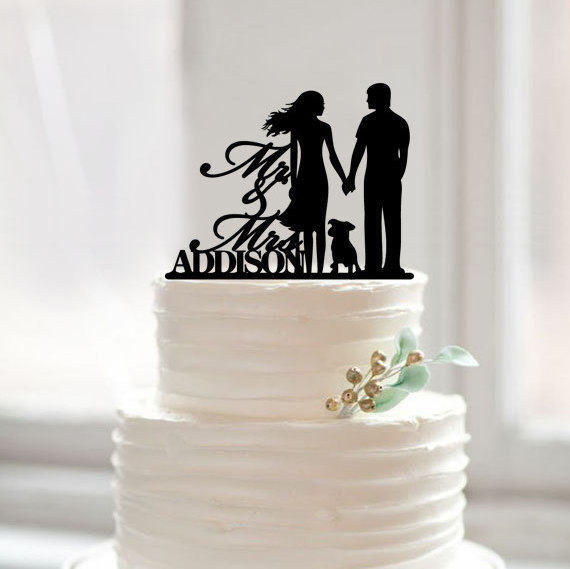 ⓪Acrylic Wedding Cake Topper with Dog, Mr Mrs Last Name Cake ...