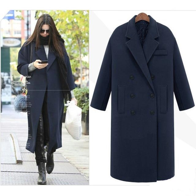 461573043be Ретро для женщин нагрудные Свободные полушерстяные Верхняя одежда черный  серый темно синие длинное зимнее пальто теплая