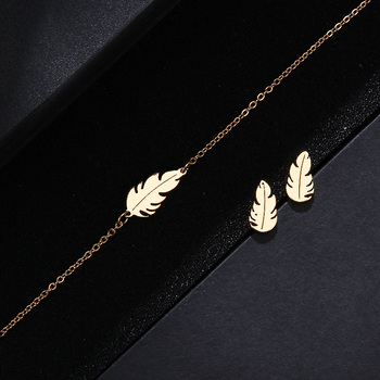 CACANA Stainless Steel Sets For Women Feather Shape Necklace Bracelet Earring Jewelry 2