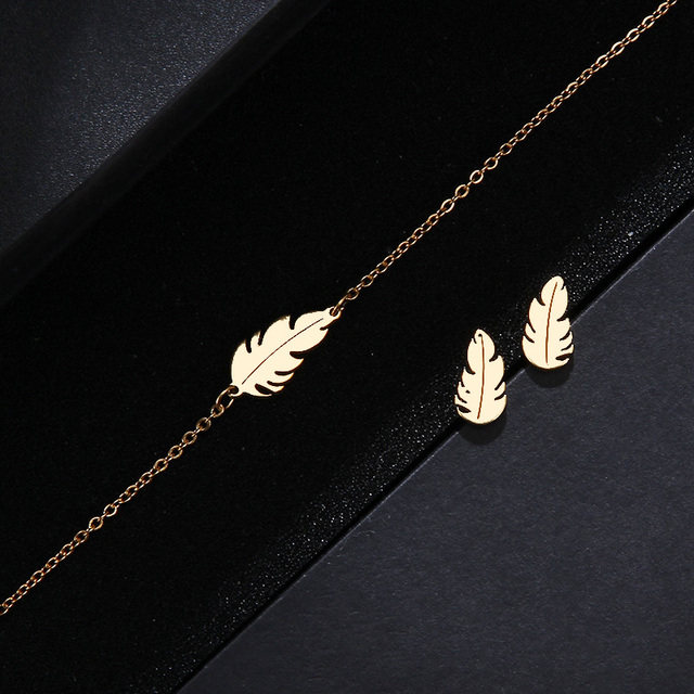 CACANA Stainless Steel Sets For Women Feather Shape Necklace Bracelet Earring Jewelry Lover's Engagement Jewelry S379 2
