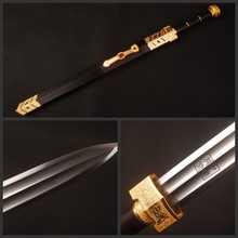 "Fully Handmade Folded Steel Traditional Handcraft ""Ru yi"" Chinese Sword Kuroki Saya Vintage Knife"