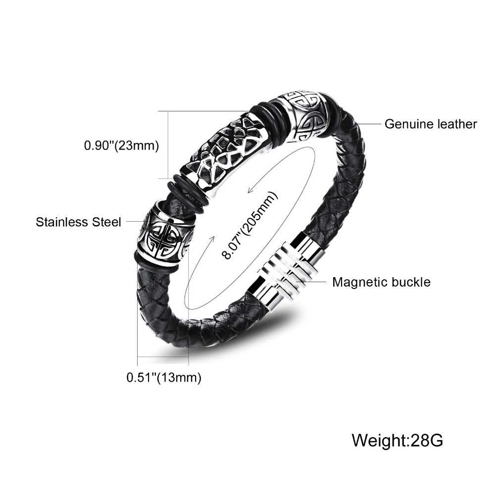 Real Leather Knitted Man Bangles Vintage Stainless Steel 2