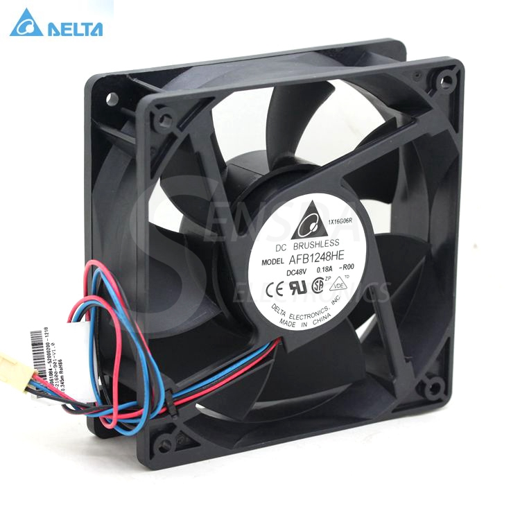 Original Delta AFB1248HE 12CM 120MM 1238 12038 48V 0.18A 2 line  dual ball bearing cooling fans cooler original delta ffb1224she 12cm 120mm 12038 120 120 38mm 24v 1 20a cooling fan