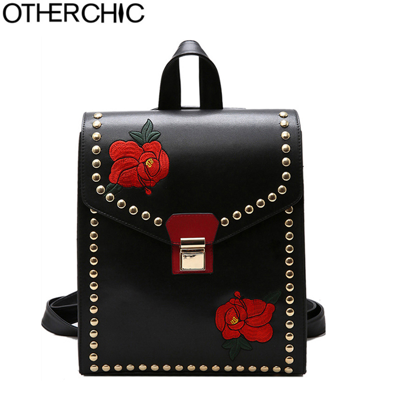 OTHERCHIC Fashion Women Backpack Rivet Embroidery High Quality PU Leather Floral Backpacks Girls Double Shoulder Bag