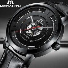 MEGALITH 15.99 $ otomatik mekanik saatler erkek spor su geçirmez paslanmaz çelik izle içi boş otomatik izle Horloges Mannen
