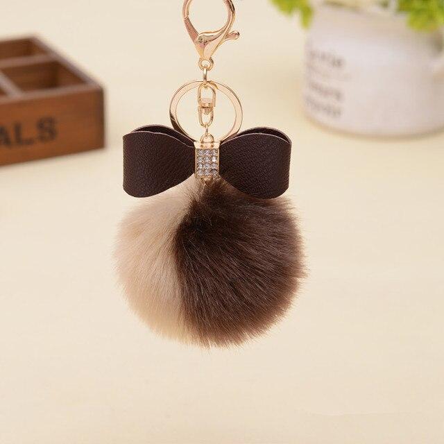 7 cm Adorável Fluffy Bola De Pêlo Pompom de Pele de Coelho Artificial Chaveiro Chave Cadeia Arco-nó Duplo Cor Mulheres Carro bolsa Key Ring