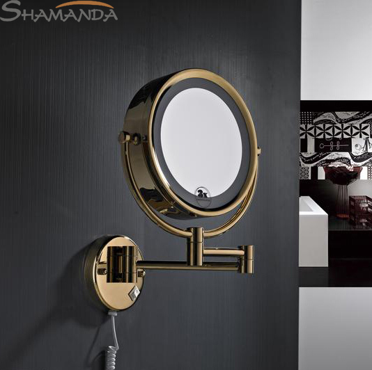 Rushed Free Shipping High Quality Solid Brass Gold Bathroom Led Cosmetic Mirror In Wall Mounted Mirrors Accessories-60019 free shipping high quality bathroom toilet paper holder wall mounted polished chrome