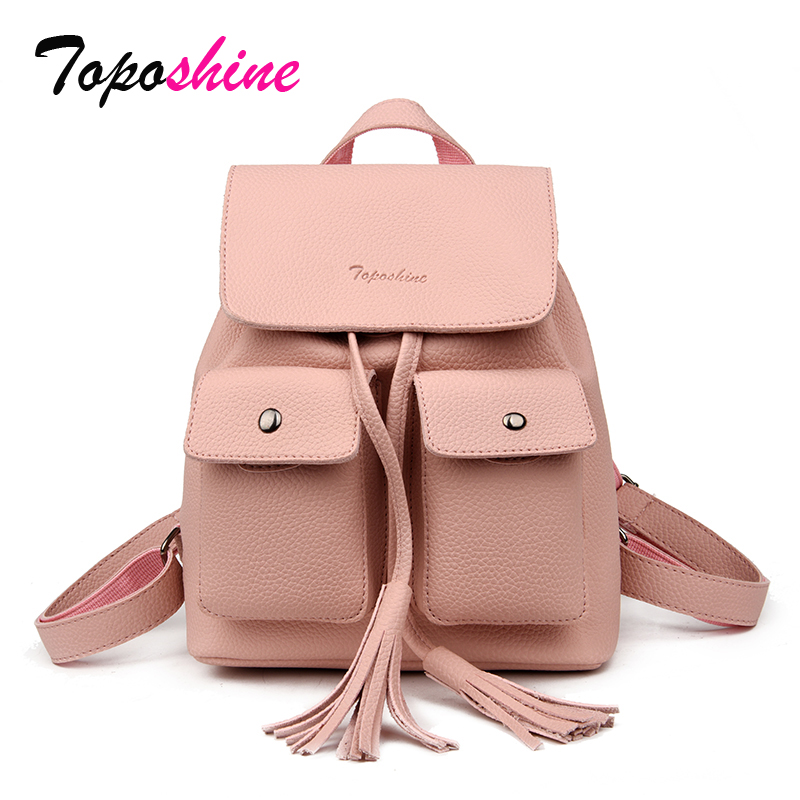 3dde19d2d14260 Tassel String Closure Women Bag Double Flap Pockets Women Backpack Thick  Litchi Pattern Leather Backpack Fashion Girls