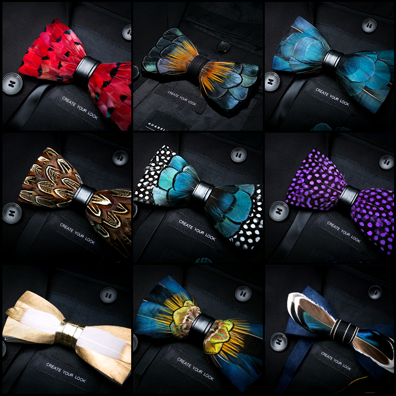 JEMYGINS Original Italy Design Delicate Fashion Feather Exquisite Hand Made Bowtie Gift Box Set Groom Wedding Party Men Bow Tie