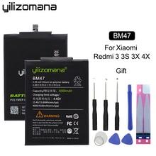 YILIZOMANA Li-ion Battery BM47 For Xiaomi Redmi 3 3S 4X 3X Replacement High Capacity Phone Batteries 4000/4100mAh +Cable replacement 3 7v 1800mah li ion batteries for lg optimus 4x hd p880 f160 2 pcs