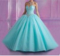 Дешевые ярко розовый голубой Пышное Платье сладкие 16 Бальные платья из бисера Кристалл без рукавов Vestidos De 15 Anos дебютантка платье