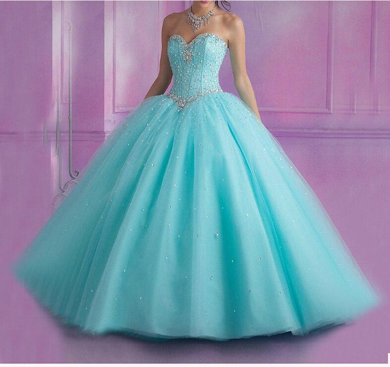 Ярко розовый светло голубой Бальные платья 2018 бальное платье сладкий 16 бисером кристаллы Vestidos De 15 Anos дебютантка