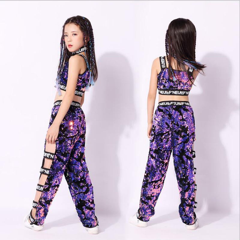 Children Girls Purple Sequined Coats Pants Hip Hop Clothing Outfits Jazz Dance Costume Kids Ballroom Dancing Wear Stage Suits