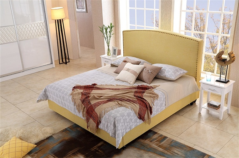 european high back contemporary modern fabric sleeping soft bed king size bedroom furniture made in china - European Bed Frame