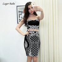 Leger Babe 2018 New Arrivals Print Two Pieces Set Dress Sexy Strapless Crop Tops and Pencil Skirt Slim Bandage Two Pieces Outfit