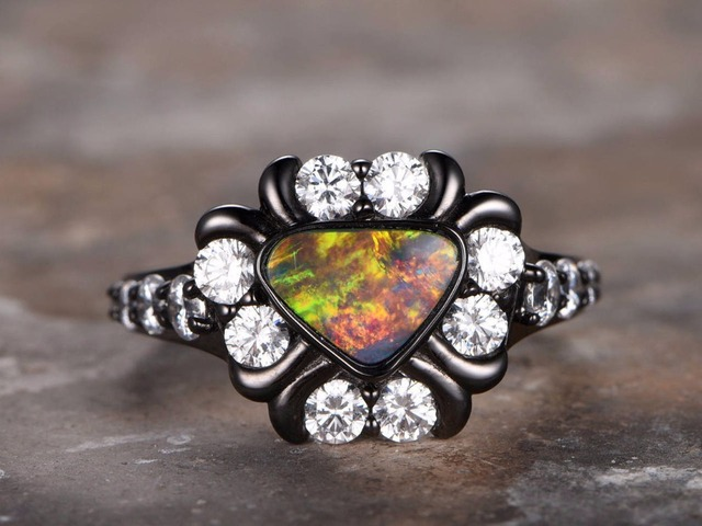 Australian Black Opal Ring Art Deco Ring Opal Engagement Ring Vintage  Floral Design 8.6x6mm Trillion