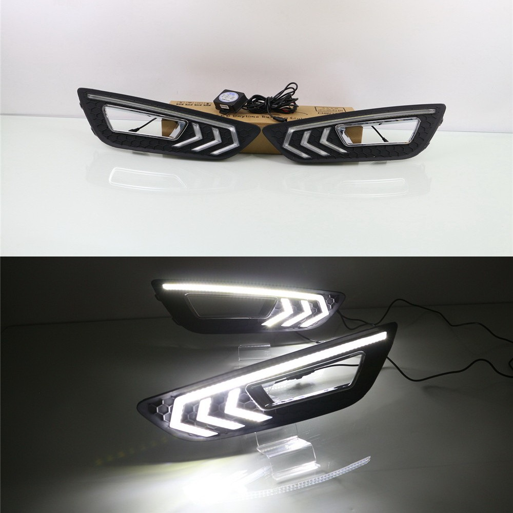 July King LED Daytime Running Lights DRL Case for Ford Focus IV 2015+, LED Front Bumper Light , L type, 1:1 Replacement july king led daytime running lights drl led front bumper fog lamp case for ford focus iii 2011 13 y type 1 1 replacement