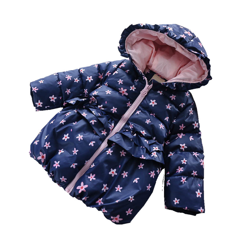 b74ed9a65 532463195 Baby Jacket Winter Girl Coat Floral Fleece Hooded Girls Jacket  Flower Worm Girl Outerwear Kids Jacket Child Clothes
