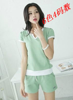 2015 Fashion Summer Women 6 Pure Colors Walk Home Running Sports Suits T Shirt Shorts Sets