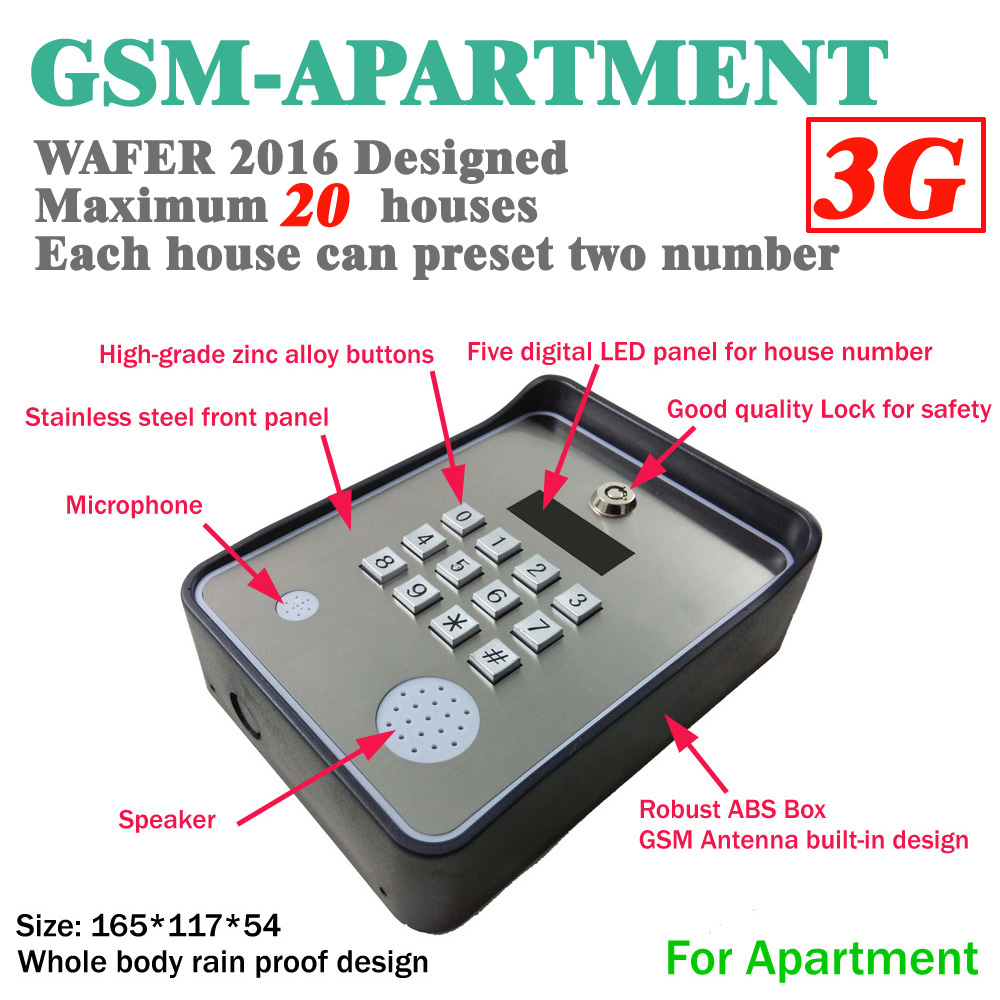 3G Version Brand New Code / Keypad Wireless GSM audio Door Phone Intercom for Smart SMS Door lock remote release and SMS alarm автоматический открыватель двери brand new rtu5025 gsm 999 sms 1output 2