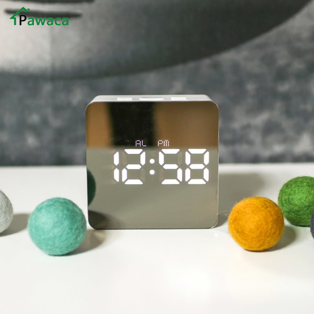 New Electronic Digital LED Night Light Table Clock Mirror Digital Large Display Alarm Clock Snooze Light-emitting Thermometer