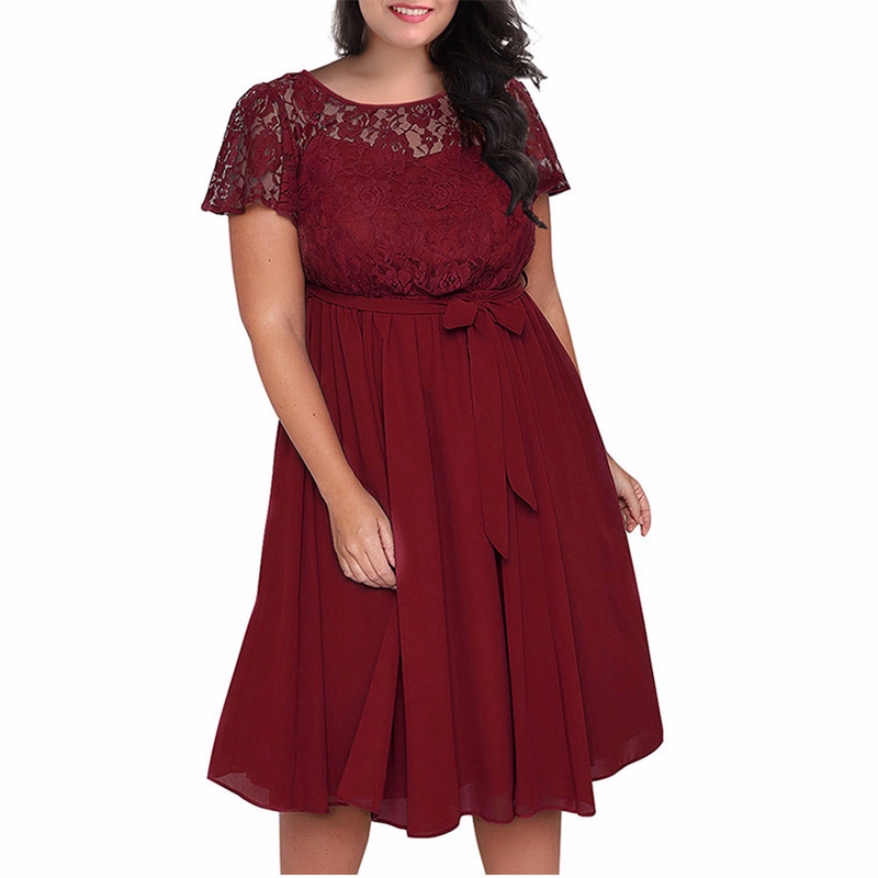 Large Size Dress 2018 Summer Womens Clothing New Hot Temperament Elegant Plus Size Lace Short-sleeved A Word Stitching Dresses
