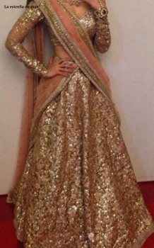 Gold sparkling Indian beauty pageant evening gown