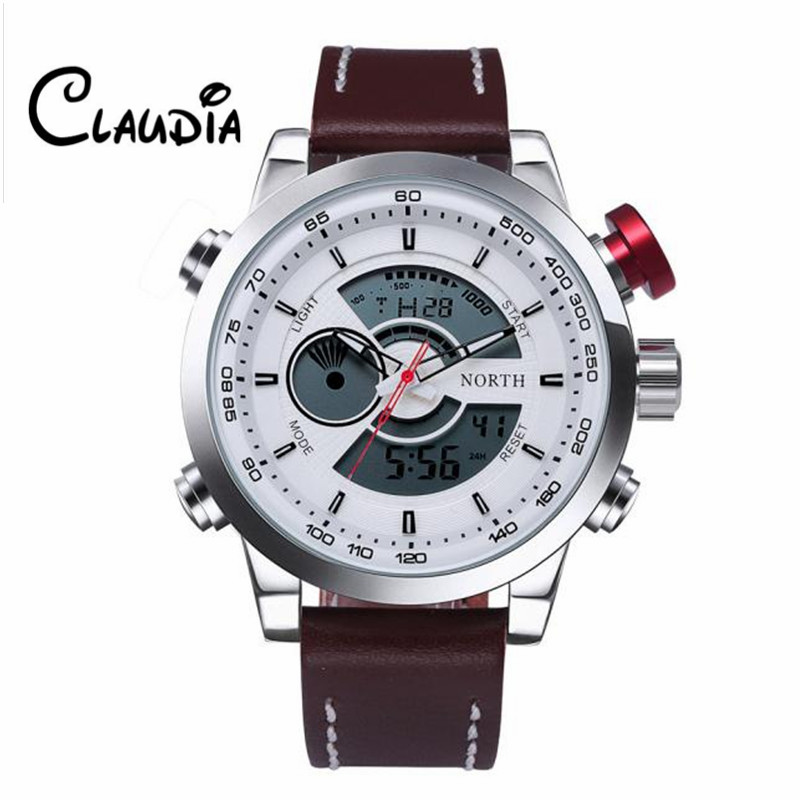 CLAUDIA Fashion New North Double Movement Alarm Clock Quartz Wrist Watch Leather Sports Men Watch Dropship Relogio Masculino cool men watch double time stopwatch luminous timing ring alarm 12 24 hour men wrist watch clock relogio masculino watch