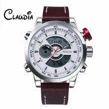 CLAUDIA Fashion New North Double Movement Alarm Clock Quartz Wrist Watch Leather Sports Men Watch Dropship Relogio Masculino