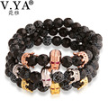 V YA  Amazing Agate Stone Bracelet for Lover Unique Gifts Crystal Crown Charm Handcrafted Bracelets Bangles Woman Man Lady DIY
