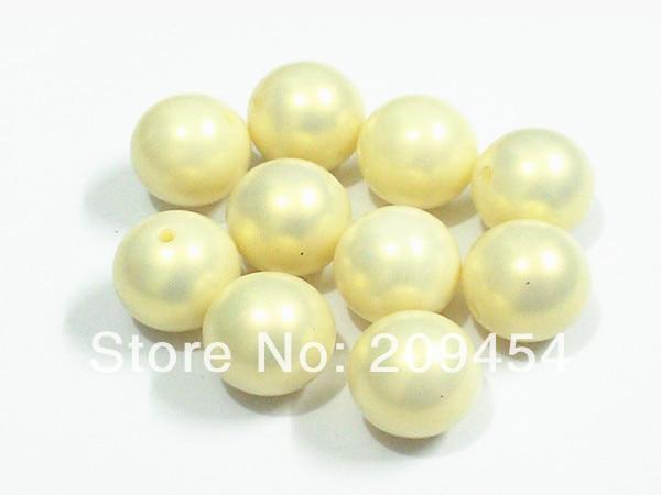 Le plus récent! Perles d'illusion jaunes, 100 pièces/lot, grosses perles rondes d'imitation acrylique pour la fabrication de bijoux pour enfants, 20mm