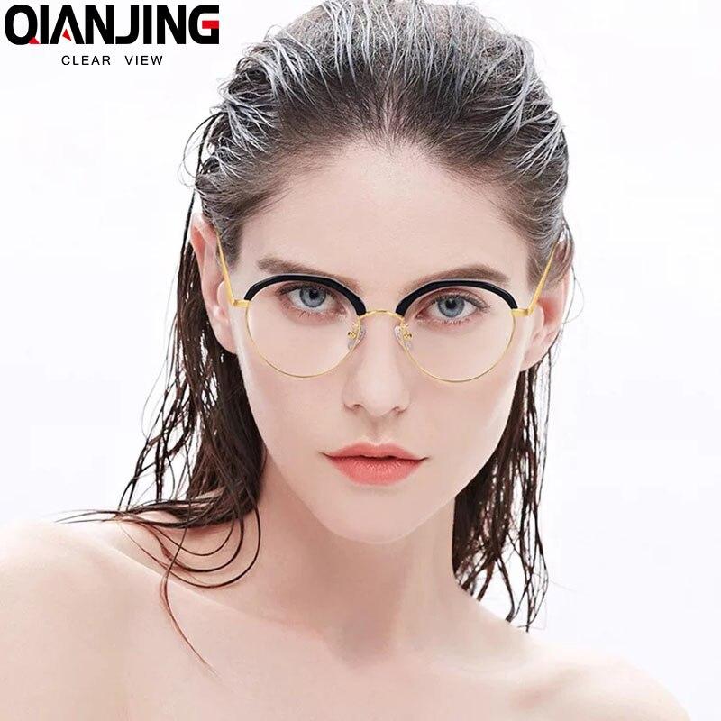 Female frames pure titanium frames male half glasses myopia Korean tide retro large flat eyes box