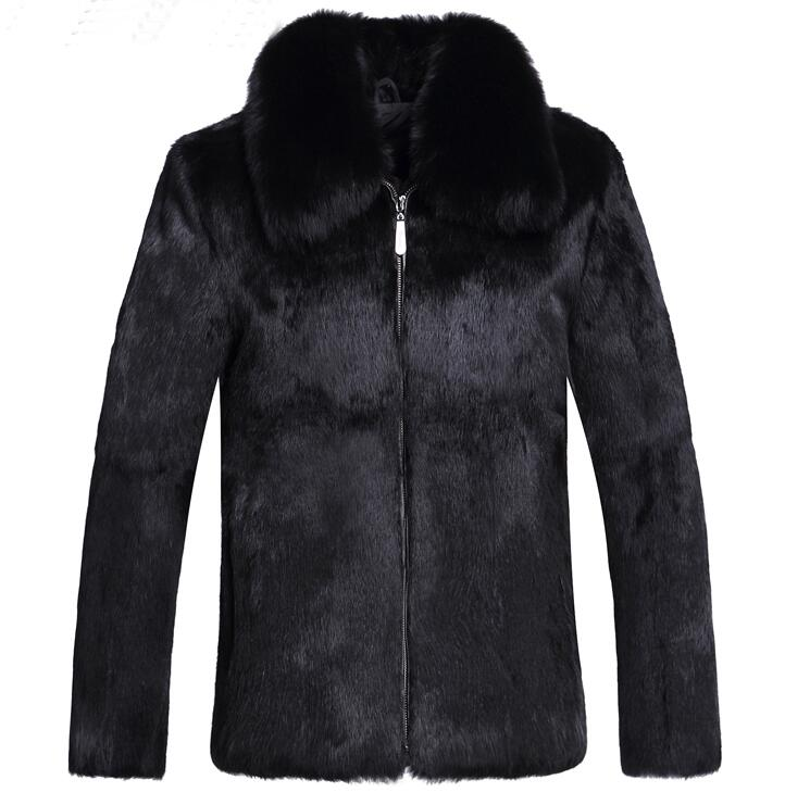 Winter autumn thicken thermal fox fur leather jackets men casual mens mink hair cotton-p ...