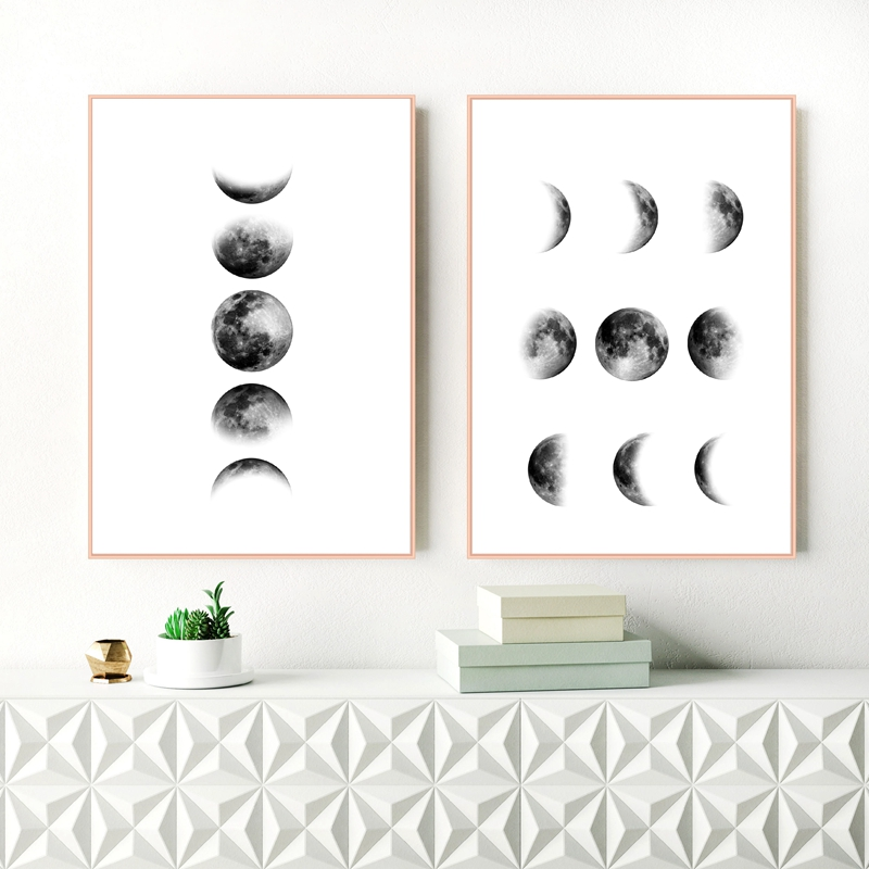 Картина на холсте Черно-белая луна, Настенная картина в скандинавском стиле, печать на холсте с фазами луны и постер, декор для стен в сканди...