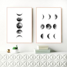 Black and White Moon Canvas Painting Nordic Wall Art Picture , Moon Phases Canvas Print and Poster Scandinavian Art Wall Decor(China)