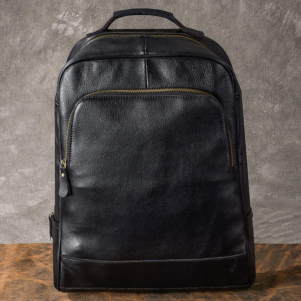 Classic men's Backpacks black genuine leather shoulder bag leather business travel bag 15 inch laptop computer bag backpack цена