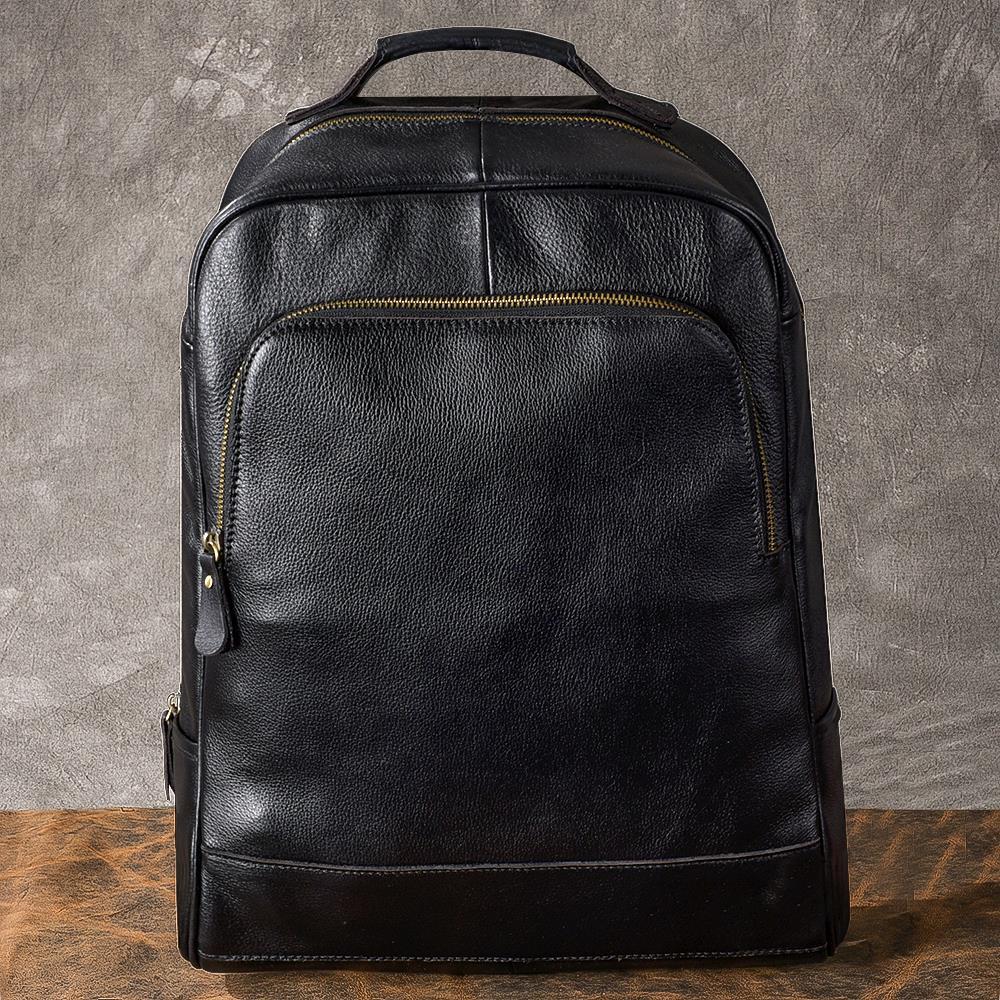 Classique hommes de Sacs À Dos noir véritable bandoulière en cuir sac en cuir d'affaires voyage sac 15 pouce ordinateur portable sac à dos