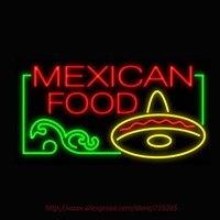 2017新しいネオンサインメキシコ料理ソンブレロリアルガラス管ネオンサインライト手作りレクリエーション店アイコニックサインボード37 × 20
