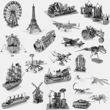 3D Metal Puzzle World Building /Vehicle Car /Ship /Animal /Military Fighter /Airplane Jigsaw Puzzle DIY Model Best Toy Gifts