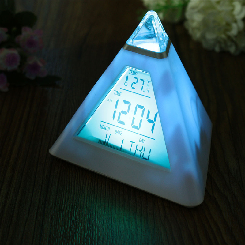 LED Clock Pyramid Change Colour Digital Clock With Date Alarm Temperature Alarm Clock ABS+ Electronic Component