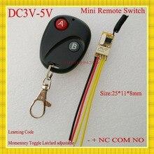 Мини-дистанционный выключатель 3 В 3.3 В 3.6 В 3.7 В 4.5 В 5 В Micro Беспроводной реле без com NC небольшой реле приемник передатчик замок